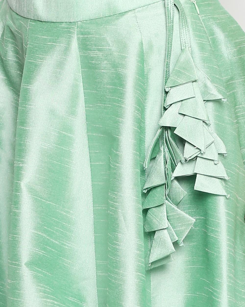 Mint Green Raw Silk Lehenga