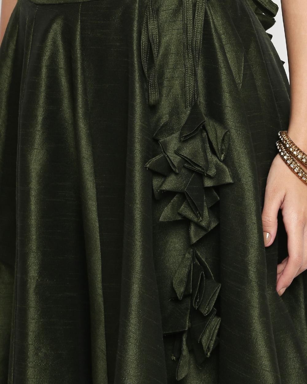 Moss Green Raw Silk Lehenga - Fashion Brand & Designer Priti Sahni 6