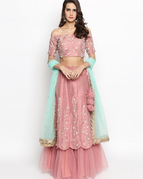 Rouge Pink Ruffle Lehenga - Fashion Brand & Designer Priti Sahni