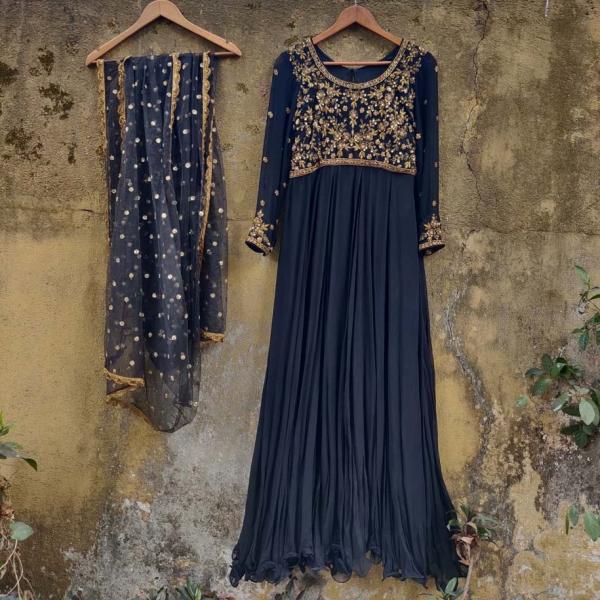 Black Zardozi Work Anarkali