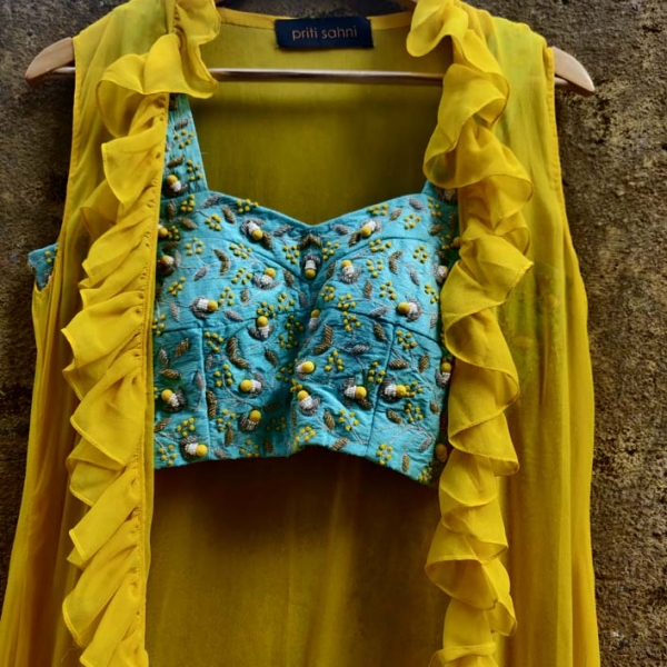 Yellow Cowl Skirt with Blue Potli Top