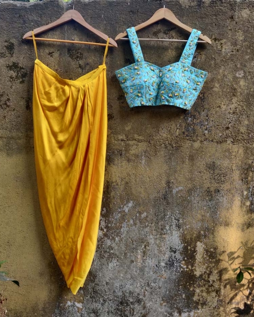 Yellow Cowl Skirt with Blue Potli Top - Fashion Brand & Designer Priti Sahni