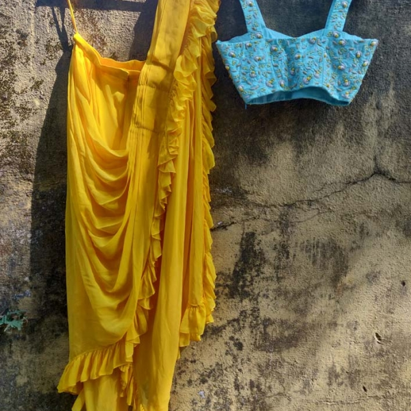 Yellow Cowl Skirt with Blue Potli Top and Jacket