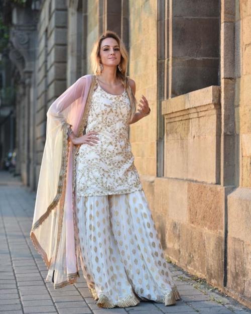 Ivory Palazzo Set with Shaded Dupatta - Fashion Brand & Designer Priti Sahni