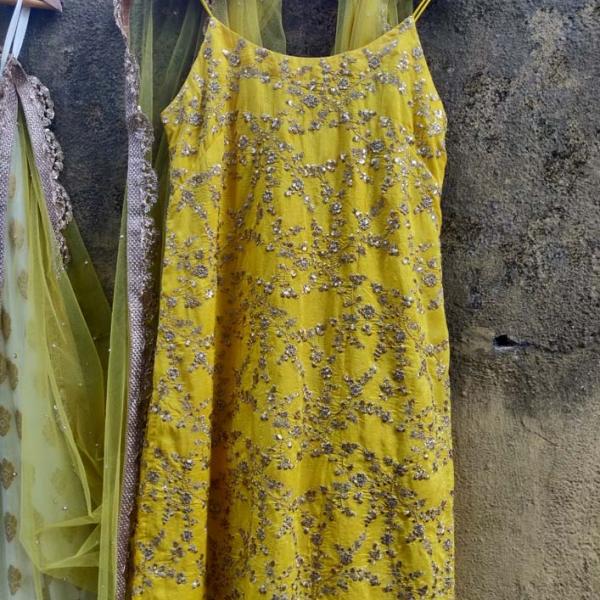 Yellow and Ivory Palazzo Set