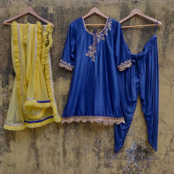 Indigo Blue Dhoti Set