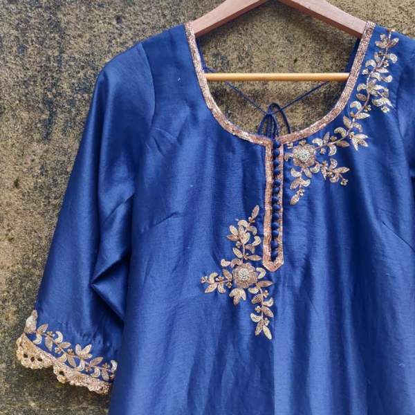 Indigo Blue Dhoti Set
