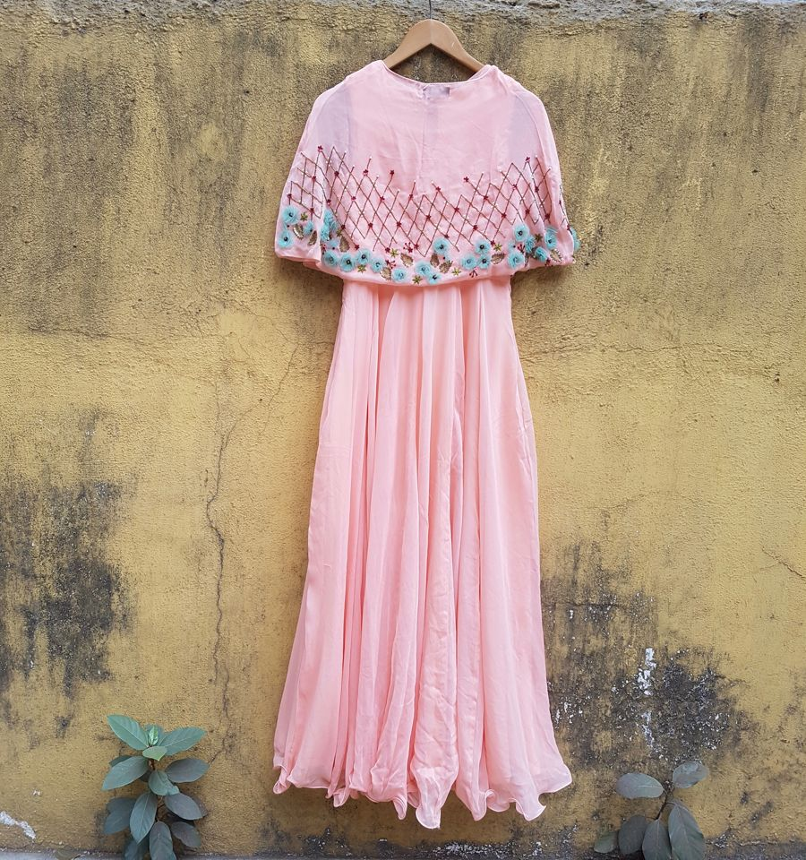 Peach Georgette Anarkali