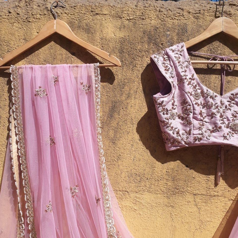 Lilac Zardozi Work Lehenga