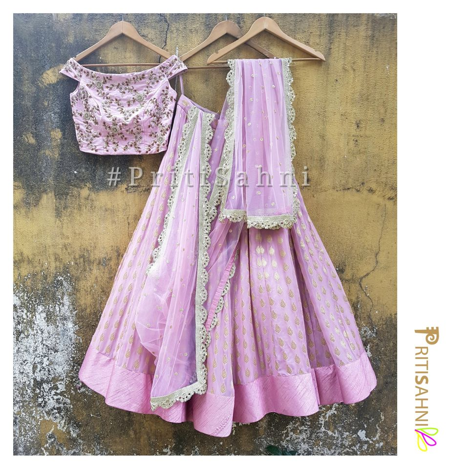 Lilac Raw Silk Off Shoulder Lehenga