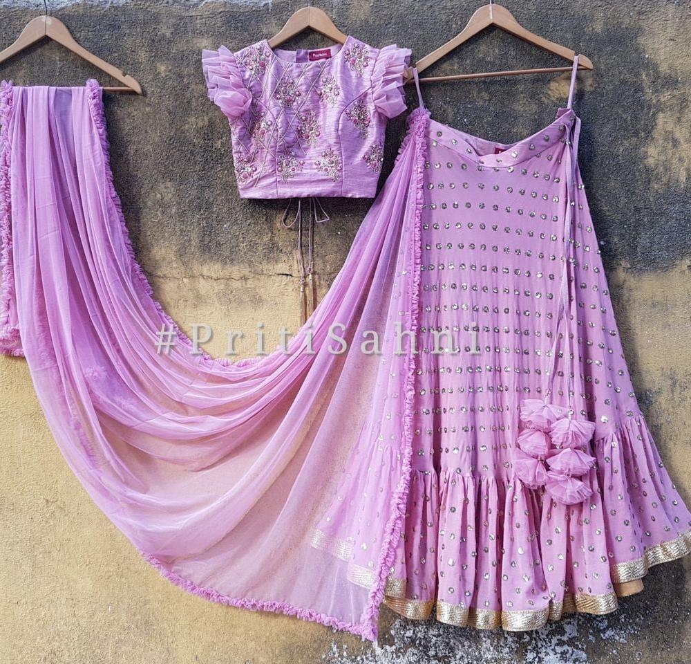 Lilac Raw Silk Ruffle Lehenga
