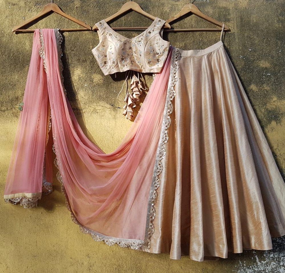 Beige Raw Silk Lehenga