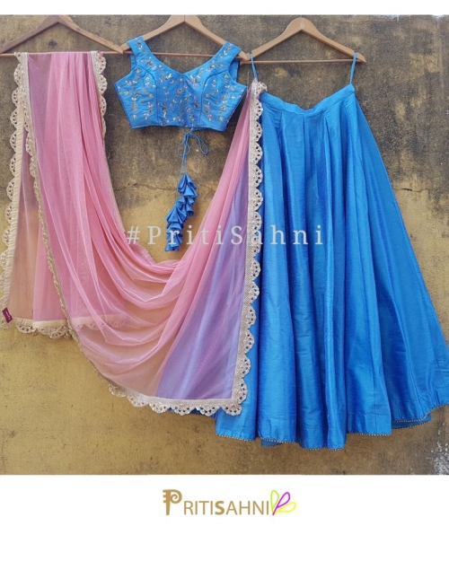 Powder Blue Raw Silk Lehenga
