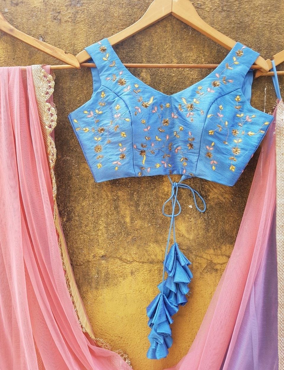 Powder Blue Raw Silk Lehenga