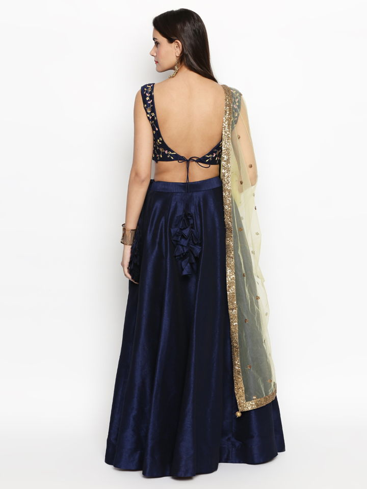 Navy Blue Raw Silk Lehenga