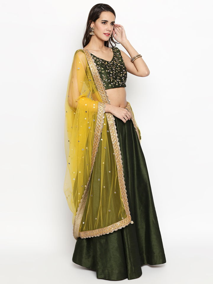 Moss Green Raw Silk Lehenga