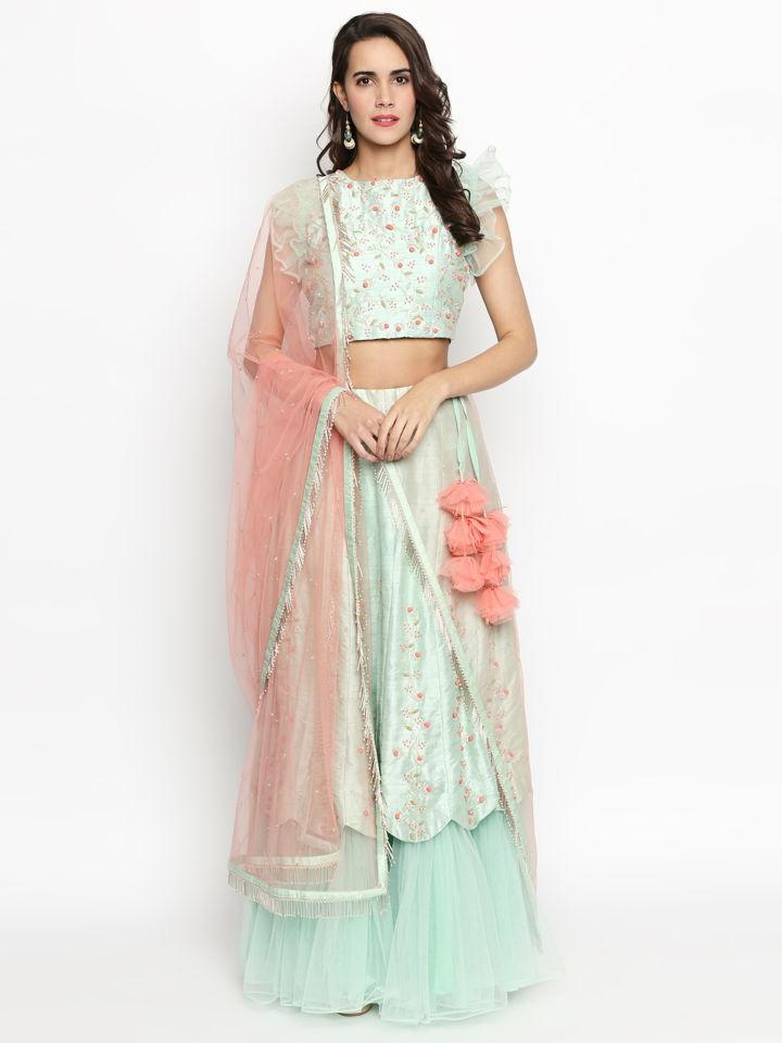 Mint Green Ruffle Lehenga - Fashion Brand & Designer Priti Sahni