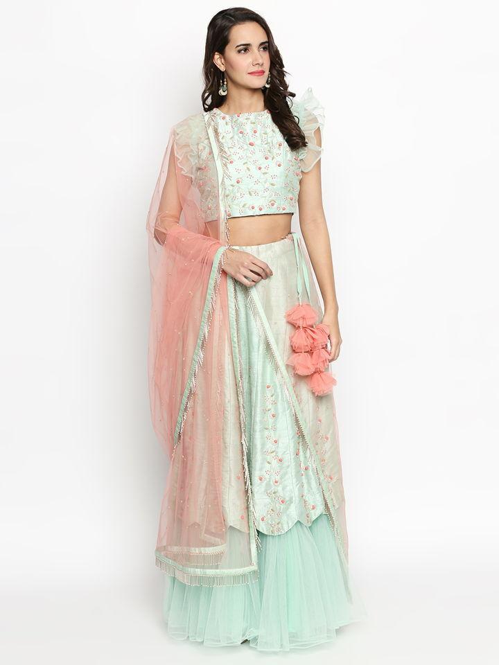 Mint Green Ruffle Lehenga - Fashion Brand & Designer Priti Sahni 2