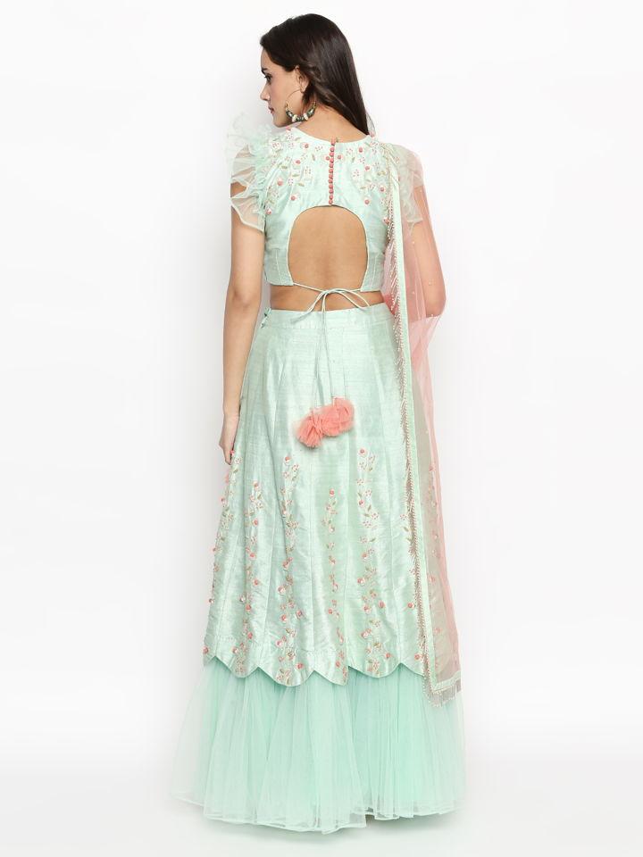 Mint Green Ruffle Lehenga - Fashion Brand & Designer Priti Sahni 4