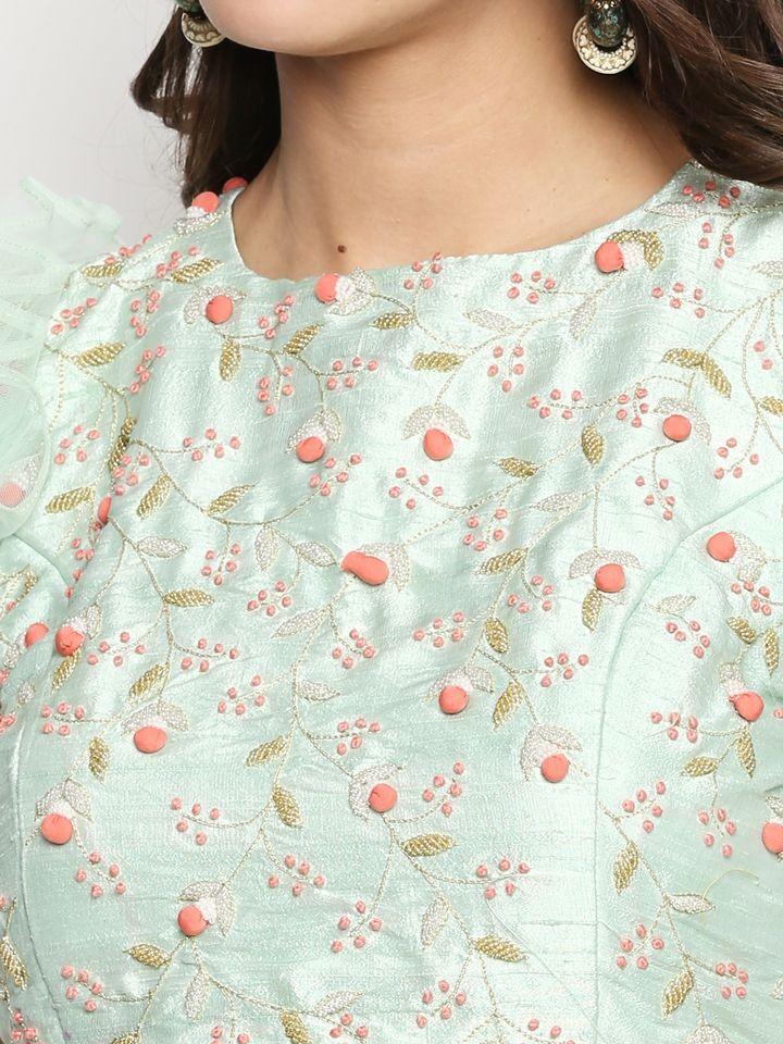 Mint Green Ruffle Lehenga - Fashion Brand & Designer Priti Sahni 3