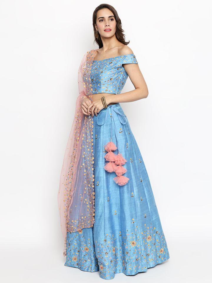 Powder Blue Raw Silk Embroidered Lehenga