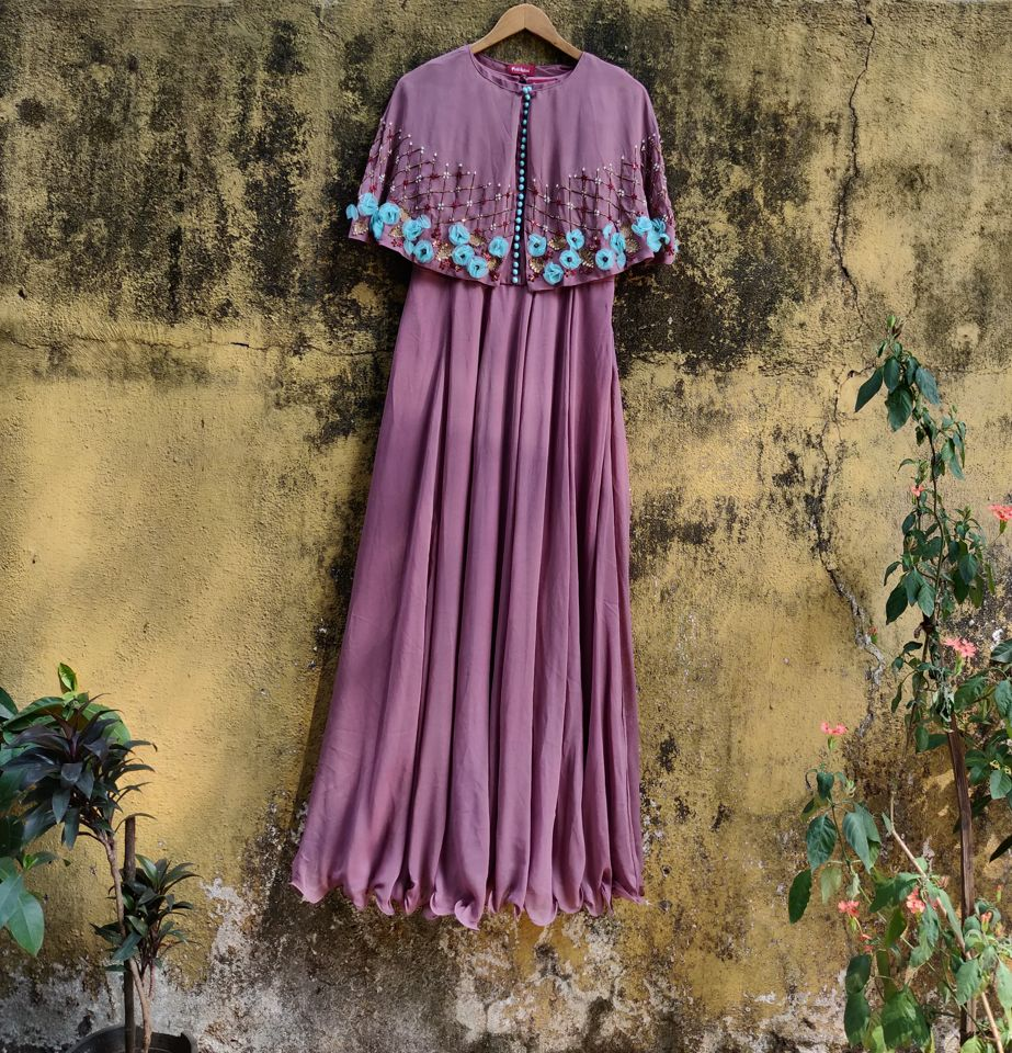 Mauve Cape Anarkali
