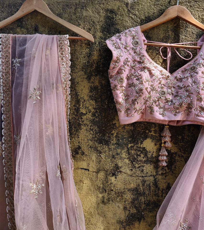 Rose Dust Pink Raw Silk Lehenga