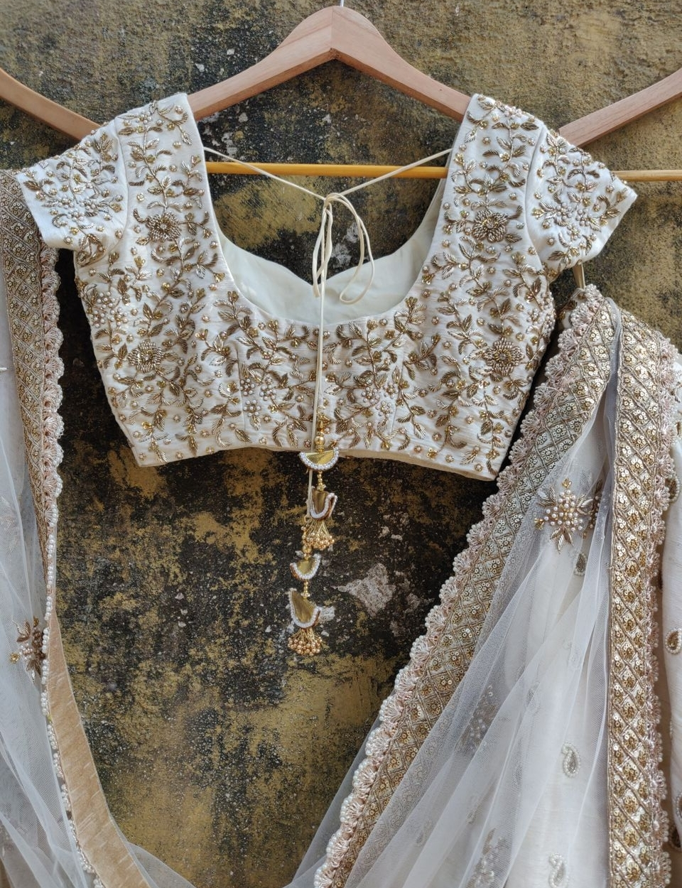 Ivory Raw Silk Bridal Lehenga