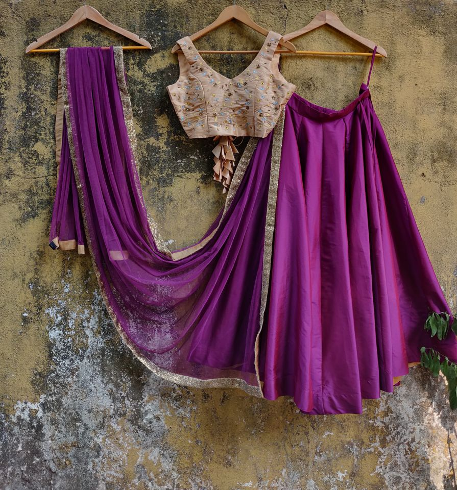 Beige and Purple Lehenga