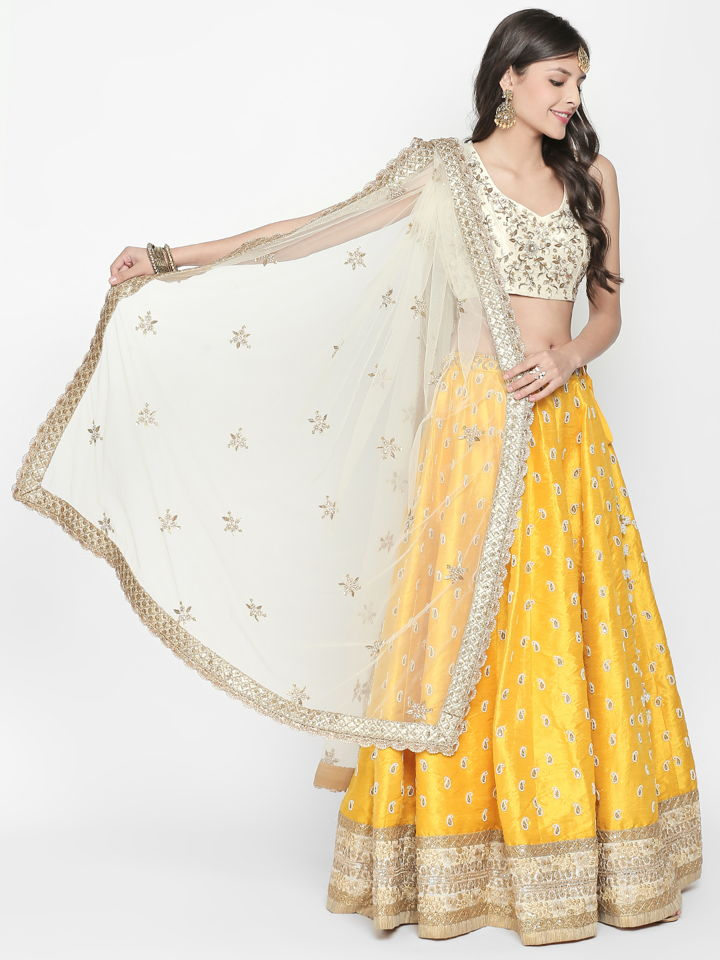 Yellow and Ivory Lehenga