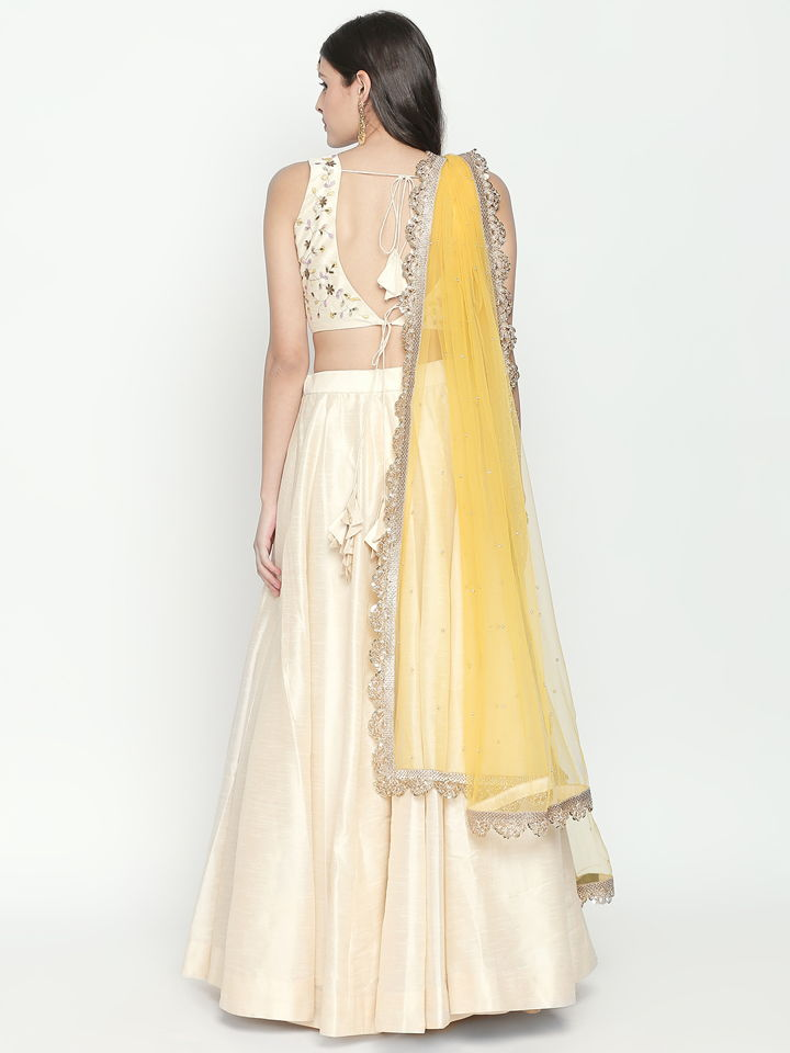 Ivory and Yellow Lehenga