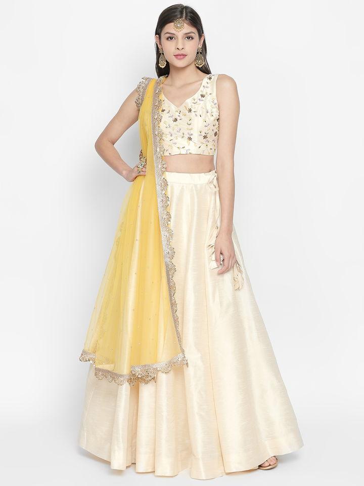 Ivory and Yellow Lehenga