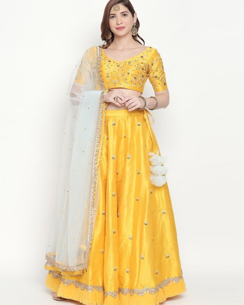 Yellow Resham Work Lehenga
