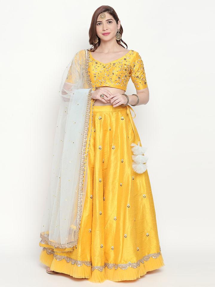 Yellow Resham Work Lehenga - Fashion Brand & Designer Priti Sahni