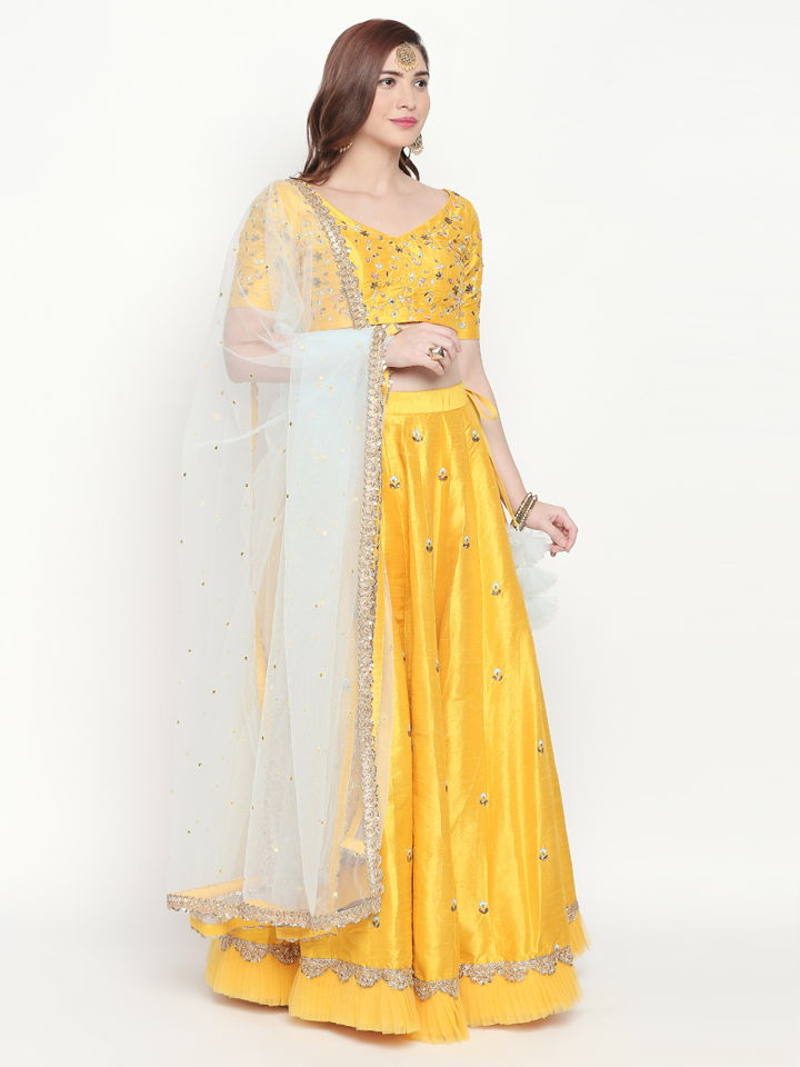 Yellow Resham Work Lehenga - Fashion Brand & Designer Priti Sahni 2