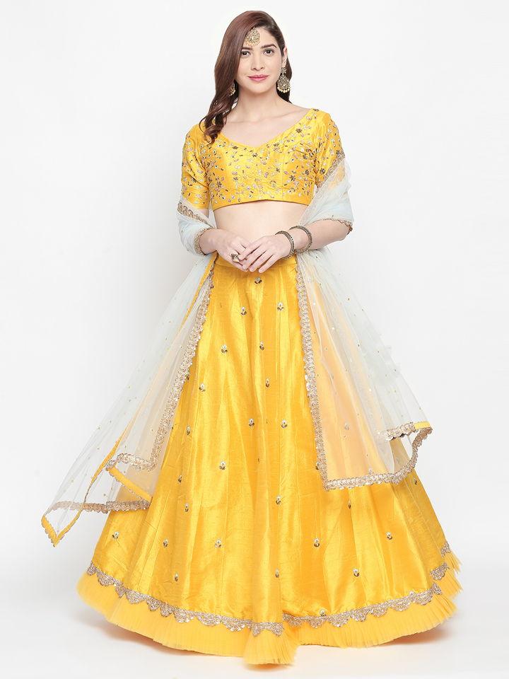 Yellow Resham Work Lehenga - Fashion Brand & Designer Priti Sahni 6