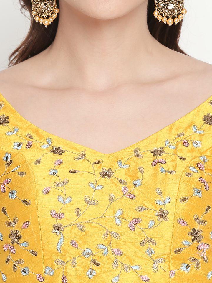 Yellow Resham Work Lehenga - Fashion Brand & Designer Priti Sahni 7