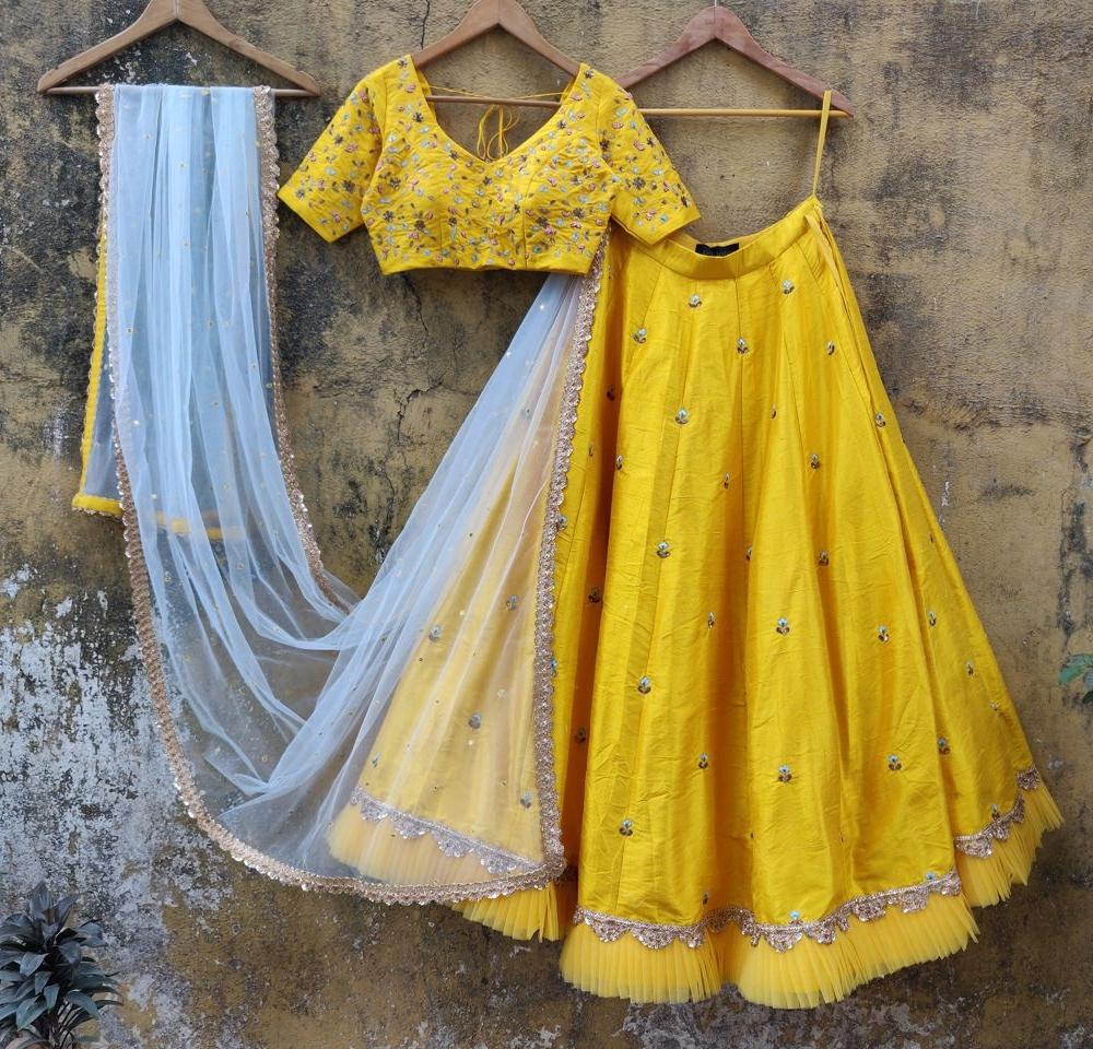 Yellow Resham Work Lehenga - Fashion Brand & Designer Priti Sahni 3
