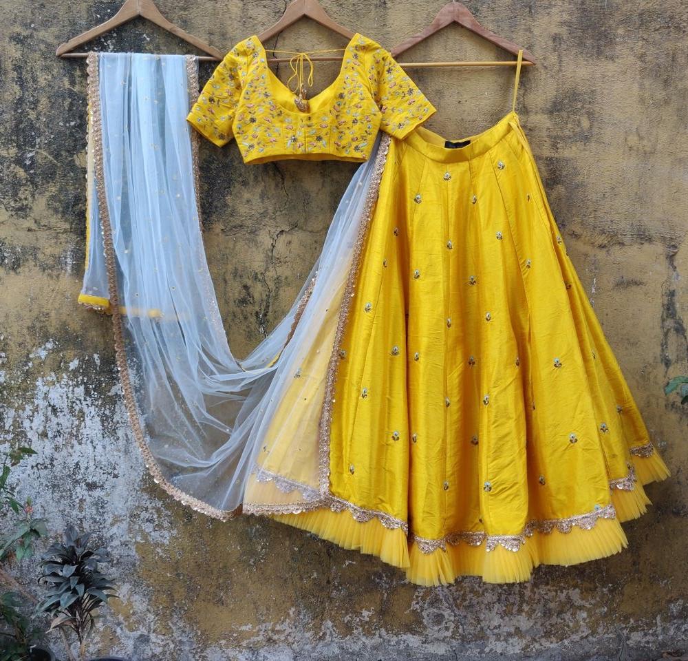 Yellow Resham Work Lehenga - Fashion Brand & Designer Priti Sahni 5