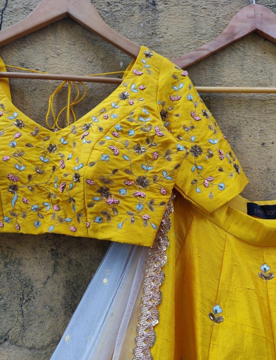 Yellow Resham Work Lehenga - Fashion Brand & Designer Priti Sahni 10