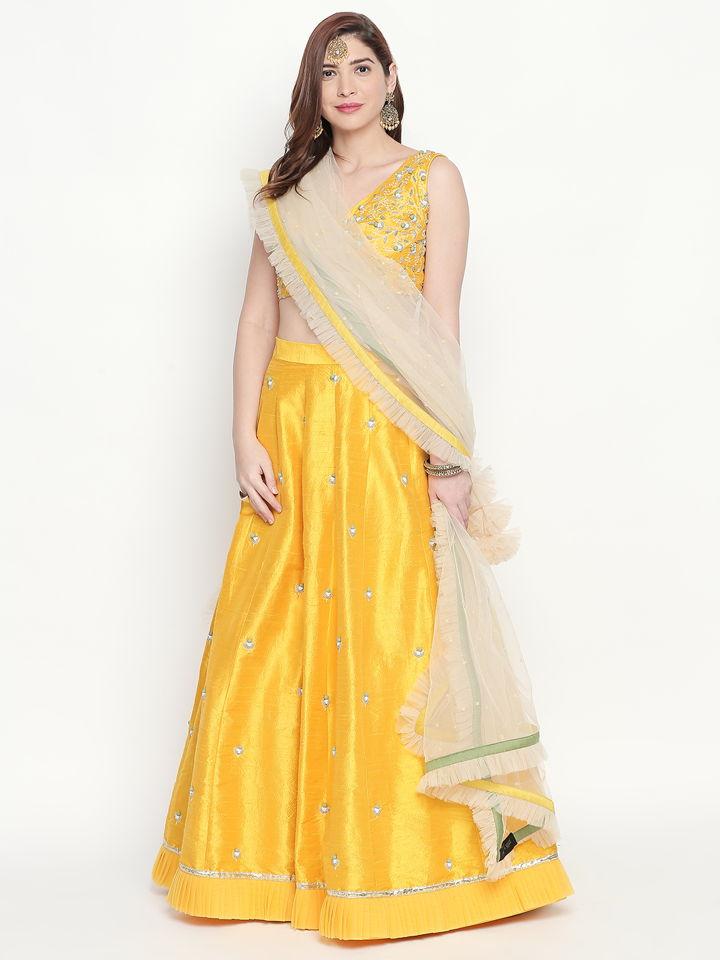 Yellow Ivory Lehenga - Fashion Brand & Designer Priti Sahni 8