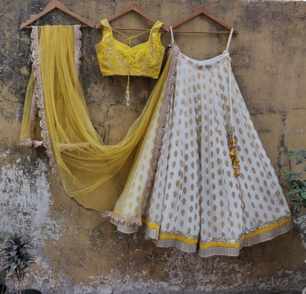 White and Yellow Ruffle Lehenga