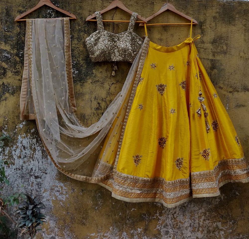 Yellow and Gold Raw Silk Lehenga