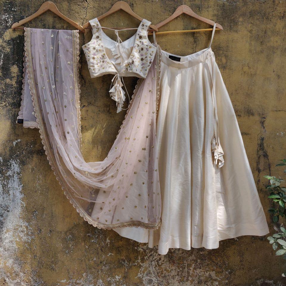 Ivory and Pink Lehenga