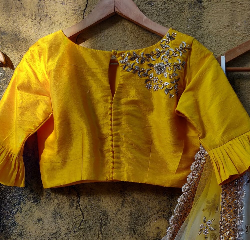 Ivory Ruffle Lehenha with Yellow Ruffle Blouse