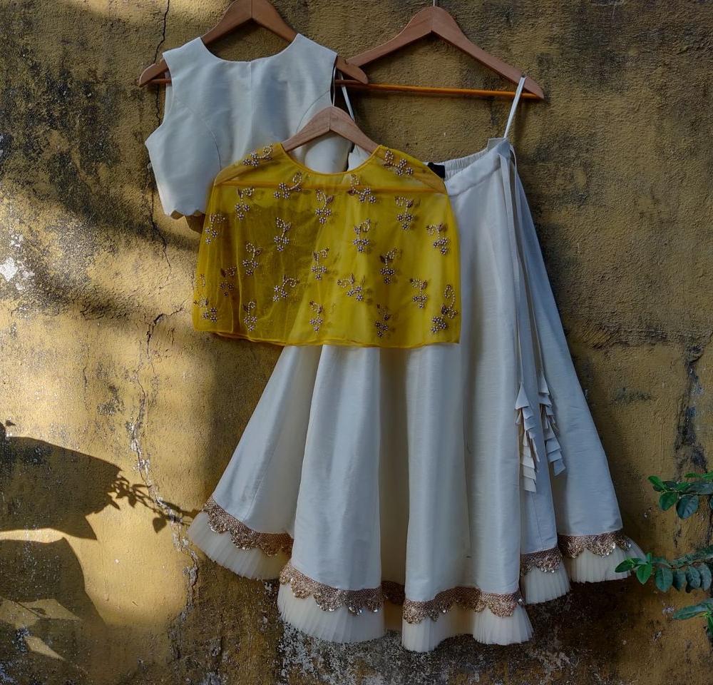 Ivory Lehenga with Yellow Cape - Fashion Brand & Designer Priti Sahni