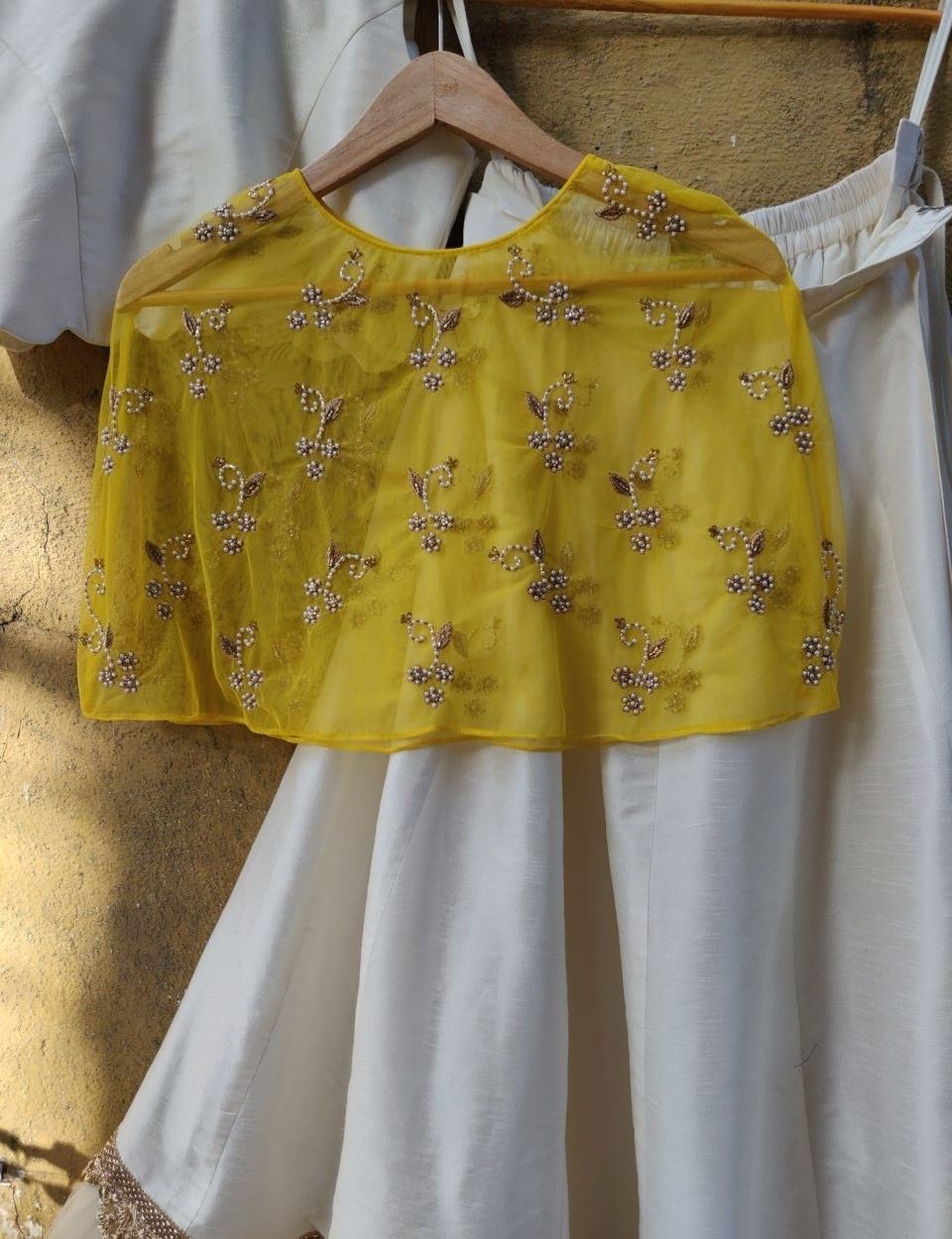 Ivory Lehenga with Yellow Cape - Fashion Brand & Designer Priti Sahni 2
