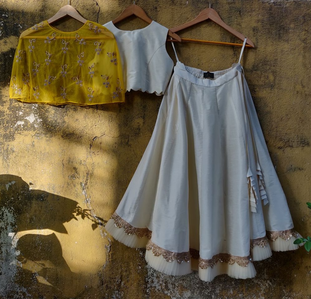 Ivory Lehenga with Yellow Cape - Fashion Brand & Designer Priti Sahni 3