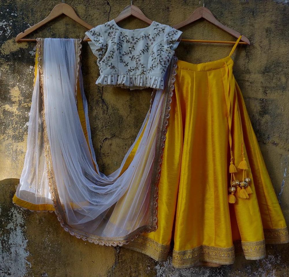 Yellow Lehenga and Ivory Blouse
