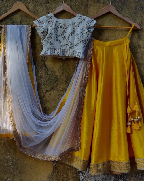 Yellow Lehenga and Ivory Blouse